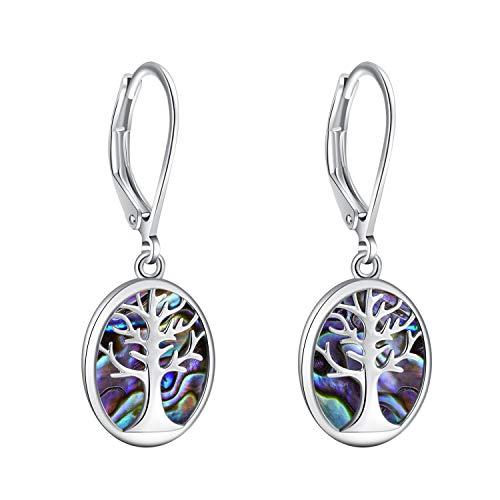 Opal Gem Tree of Life Leverback Earrings, Life Tree Abalone or Created Opal drop dangle Earrings For Women Girls