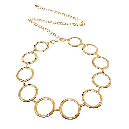 Honbay 1PCS Adjustable Gold Metal Waist Chain Circle Chain Belt for Lady (Total Length: 115cm/1.26yard)