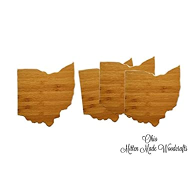 Ohio State Shaped Bamboo Coasters (Set of Four), Natural or Caramel Bamboo Coasters, Ohio Wood, Gift Idea - Mitten Made Woodcrafts