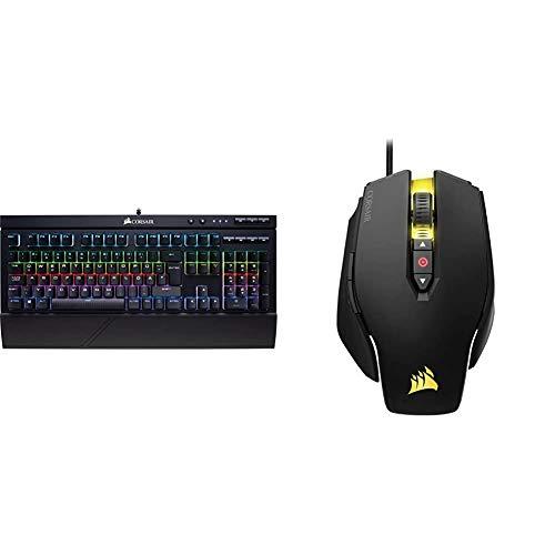 Corsair K68 RGB Mechanische Gaming Tastatur (Cherry MX Red: Leichtgängig und Schnell, QWERTZ DE Layout) schwarz & M65 PRO RGB Optisch Gaming Maus (RGB-LED-Hintergrundbeleuchtung, 12000 DPI) schwarz