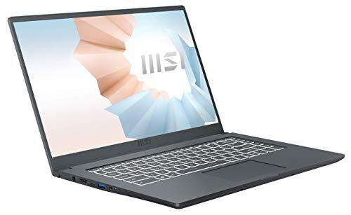 MSI Modern 15 A11M-013 (39,6 cm/15,6 Zoll/Full-HD) Premium Laptop (Intel Core i7-1165G7, 8GB RAM, 512GB PCIe SSD, Intel Iris Xe Grafik, Windows 10) Carbon-Grau