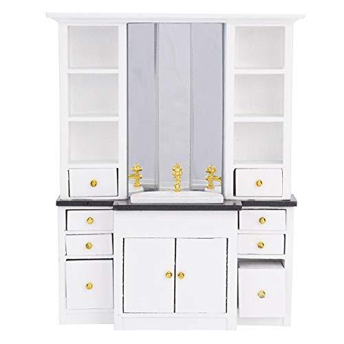 1/12 Muebles de la casa de muñecas Mini mueble de lavabo Muebles en miniatura para la decoración de la cocina del baño de la casa de muñecas (Blanco)(blanco)