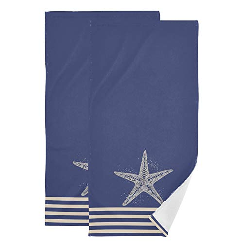 Oreayn Cute Starfishs Hand Towel for Bathroom Kitchen Beach Polyester Cotton Set of 2 Starfish on Navy Blue and White Stripes Fingertip Towel Soft Absorbent 28.3 x 14.4 Inch