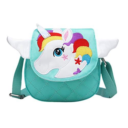 Volud - Bolso de mano, diseño de unicornio verde para niña, 14 x 5 x 13 cm