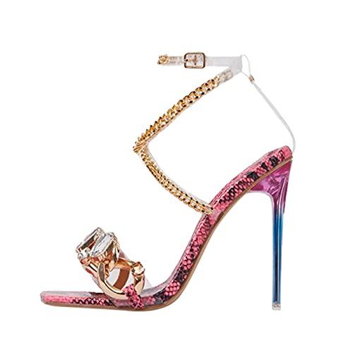Sandalias tacon mujer fiesta,Sandalias tacon mujer verano 2021 vestir de elegante moda,Zapatos tacon mujer con diamantes,zapatos tacon mujer sexy baratos cadena metal Venda,Zapatillas tacon Alto