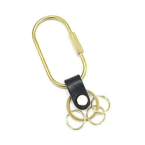 PAIDiA 真鍮 キーホルダー 本革 メンズ Oリング O型 ネジロック ベルトループ キーリング 栃木レザー P080BK (ブラック)