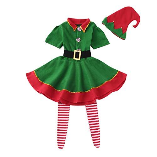 Liqiqi Natale Set Famiglia Costumi Bambina Costume da Elfo Vestito Famiglia Bambini Ragazza Carnevale Gonna Cappelli Calzini - Costume di Prestazioni (110)