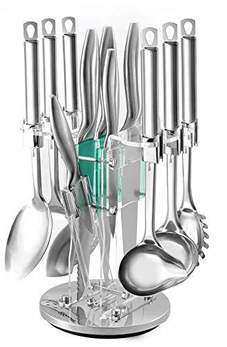 Kitchen Gadgets Utensil Knives Set - 13 Piece Stainless Steel Block - Spatula, Serving Spoon, Spaghetti Server, Soup, Dessert Ladle, Skimmer, Chef, Bread, Carving, Utility, Paring, Knife & Sharpener