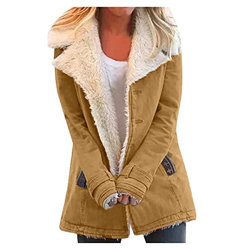Abrigo largo de peluche para mujer, color marrn, con cremallera, chaqueta de forro polar, con capucha y capucha, W3 Khaki, M