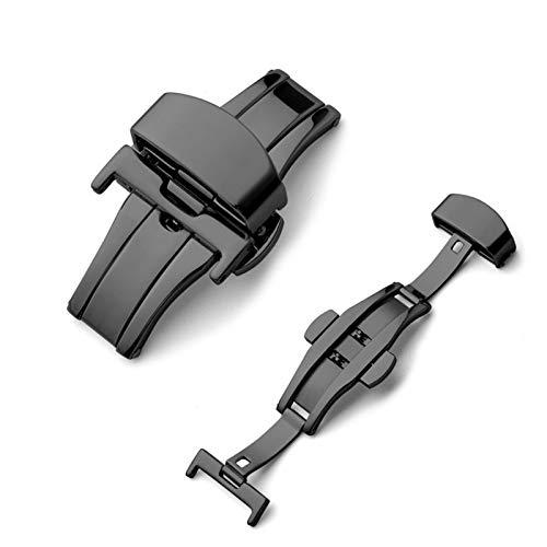 DLCYMY Botilla de despliegue de Mariposa Automático Doble Clic en el botón de Correa de Acero Inoxidable para la Banda de Reloj 16mm 20mm 22mm 24mm Herramienta de Regalo