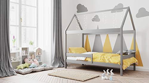 Letto Casetta in Solido Legno Letto Singolo 3 misure 90x190 80x180 80x160 - Letto Montessori a Capanna - Letto per Bambini - per Bambini e Bambine - Legno di Pino Naturale - 190x90 - Grigio