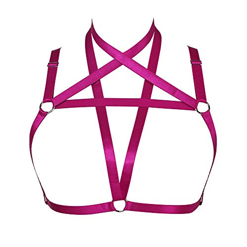 Women Harness Elastic Band Lingerie Cupless Cage Bra Punk Goth Hollow Out Rave Dance Accessories - -