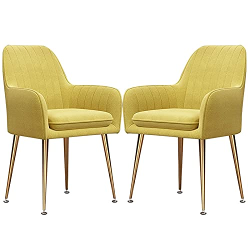 SFSGH Classic 2 Pack Dining Chairs with Glossy Metal Legs Set Home Fabric Restaurant Chair with Fully Upholstered Back and Cushioned Seat For Living Room Bedroom Kitchen