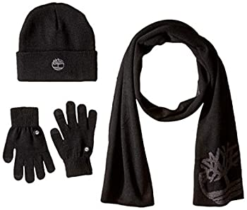 Timberland Men s Double Layer Scarf Cuffed Beanie & Magic Glove Gift Set Black One Size