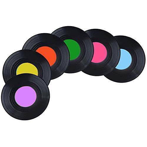 Juego de 6 posavasos antideslizantes con diseño de CD, de ABS, estilo retro, para escritorio, diseño vintage