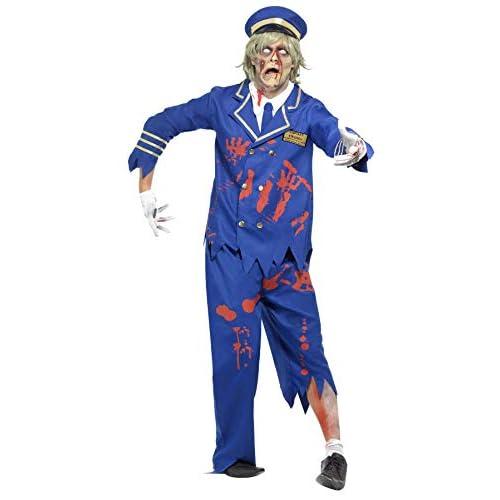 Smiffy's - Costume da Pilota Zombie, Unisex Adulto, Taglia: L, Colore: Blu