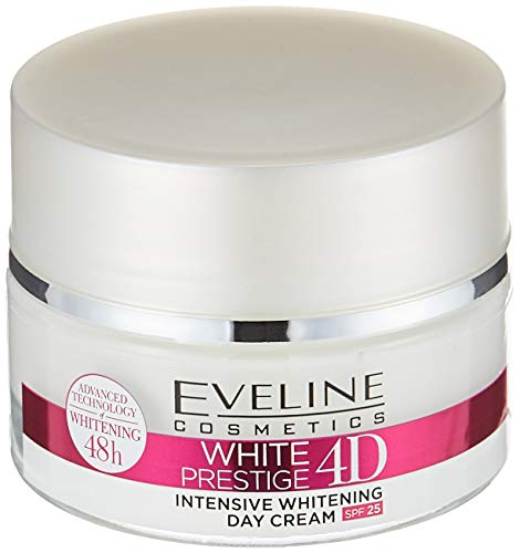 Eveline White Prestige 4D Bleichende Tagescreme mit Hyaluronsäure - Bleichcreme gegen dunkle...