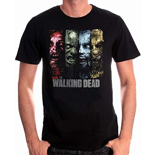 Walking Dead camiseta para hombre del negro de los zombis de la serie de algodón - L
