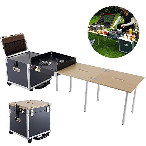 LXT PANDA Tragbare Outdoor-Camping-Küchentisch mit Stauraum, klappbarer Kochtisch Outdoor-tragbare Kochstation, Aluminium-Camping-Küche mit Stauraum-Organizer.