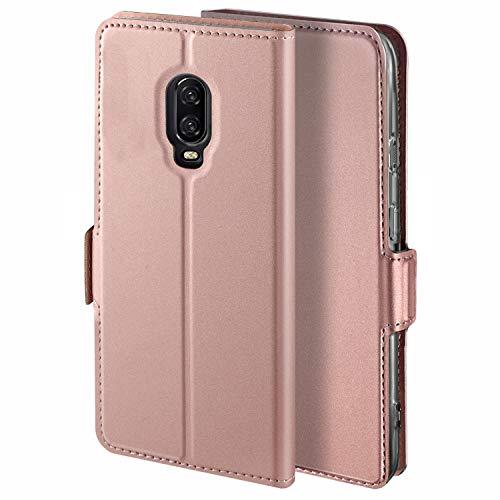 HoneyHülle für Handyhülle OnePlus 6T Hülle Leder Premium Tasche Hülle für OnePlus 6T, Schutzhüllen aus Klappetui mit Kreditkartenhaltern, Ständer, Magnetverschluss, Rose Gold