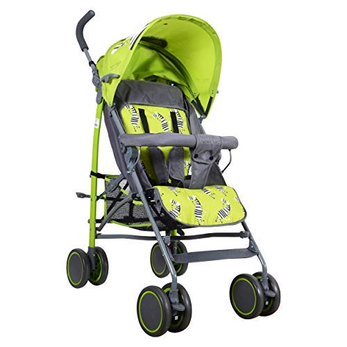 POLKA TOTS Zebra Baby Stroller Ultra Lightweight Umbrella Stroller, 6 wayReclining Seat, 5 Point Safety Harness, Compact Fold Baby Pram and Stroller (Green)
