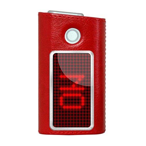 glo グロー グロウ 専用 レザーケース レザーカバー タバコ ケース カバー 合皮 ハードケース カバー 収納 デザイン 革 皮 RED レッド ユニーク デジタル 英語 赤 006129