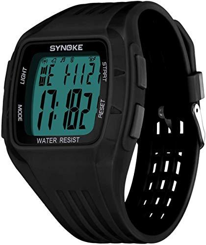Reloj deportivo luminoso impermeable para niñas y estudiantes, reloj electrónico luminoso, sistema de 12/24 horas, correa de silicona de moda, relojes para niñas (negro)-negro