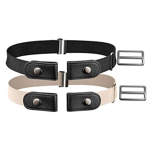 XCOZU 2 Pezzi Cintura senza Fibbia Cintura Elastica Cintura Invisibile Regolabile per Uomo Donna Pantaloni dei Jeans(Cachi, Nero)