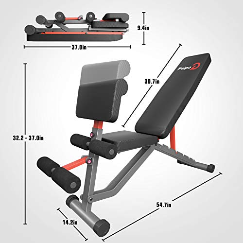 pelpo Weight Bench for Full Body Workout, Adjustable Strength Training Bench Press in Home Gym, Fast Folding Roman Chair Holds up to 660LBS, Gray