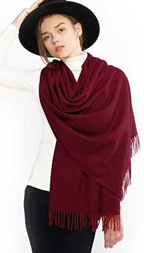 RIIQIICHY Winter Kaschmir Schal Pashmina Stola für Damen Warme Tick Große Schals für Frauen Burgund