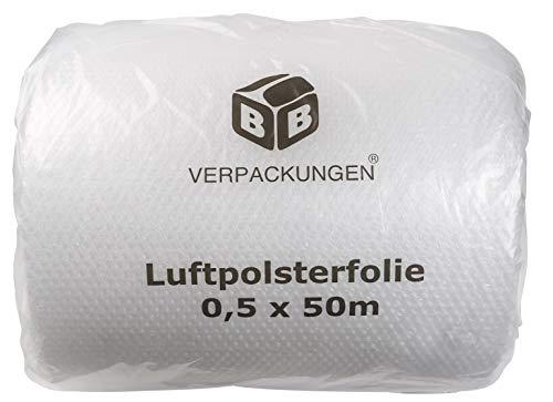 BB-Verpackungen 1x Luftpolsterfolie 0,5 x 50 m (echte 60 my stark, Versandfolie, Polsterfolie zum Schutz von empfindlichen Gegenständen, recycelbar) - Sets zwischen 1 und 30 Rollen