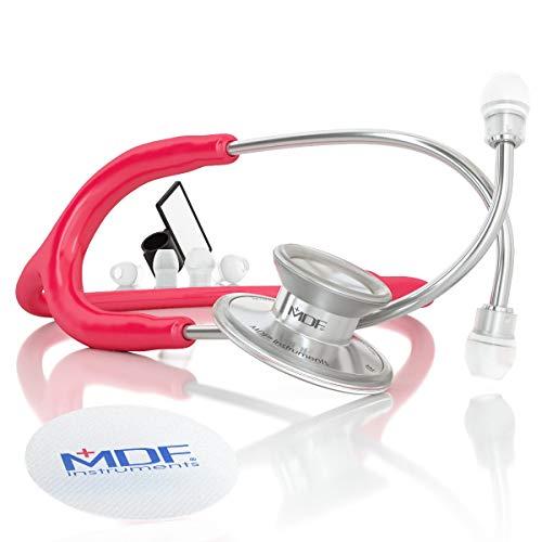 MDF Instruments MDF747XP-23 Acoustica® Deluxe, Estetoscopio ligero de doble cabeza - Garantía de por vida & Programa-piezas-gratuitas-de-por-vida, Frambuesa