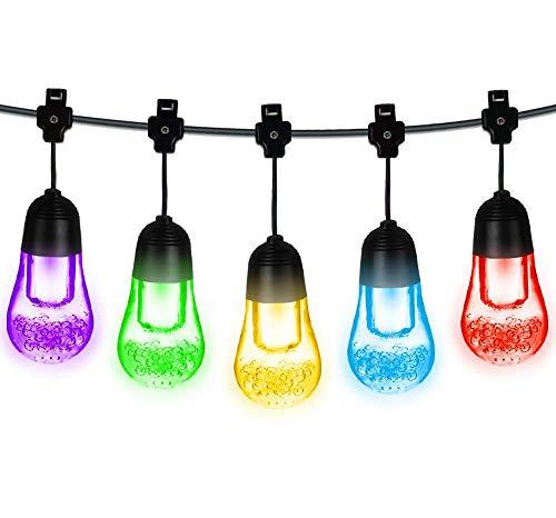 LED Solar Lichterkette, Vivibel 12 LEDs Kugel Lichterkette 5.3m IP65 Wasserdicht 2 Modi Warmweiß und Bunt Beleuchtung Drinnen und Außen Deko für Garten, Balkon, Party, Weihnachten