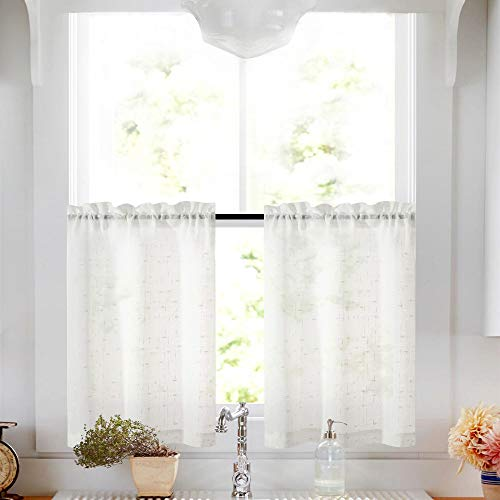 Ivory Tier Curtains 24 inch Rod Pocket Kitchen Window Tiers Sheer Cafe Curtain Set Linen Textured Voile Drapes 2 Panels