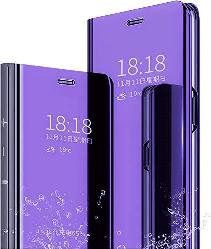 Spiegel Flip Cover kompatibel mit Oppo Find X2 Neo 5G Clear View Standing Hülle Handyhülle Mirror Makeup Plating Schutzhülle Standfunktion Handy Tasche Bumper Protective Hülle,Lila-Blau