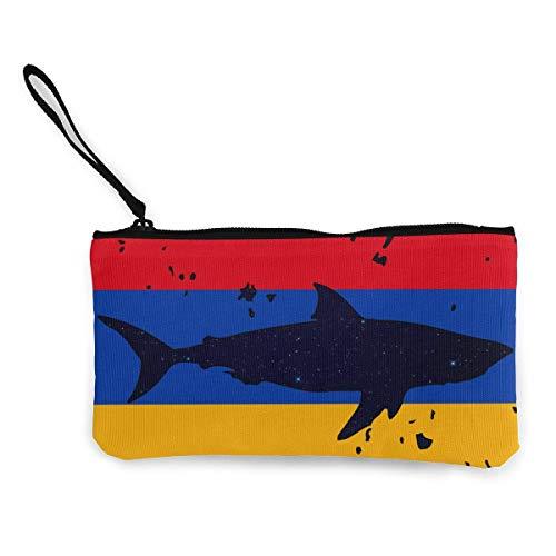 Zipper Clutch,Vintage Hai Armenien Flagge Brieftasche Münz Geldbörse Leinwand Praktische Änderung Geldbörsen Für Erwachsene Jungen Mädchen,22(L) x12(W) cm