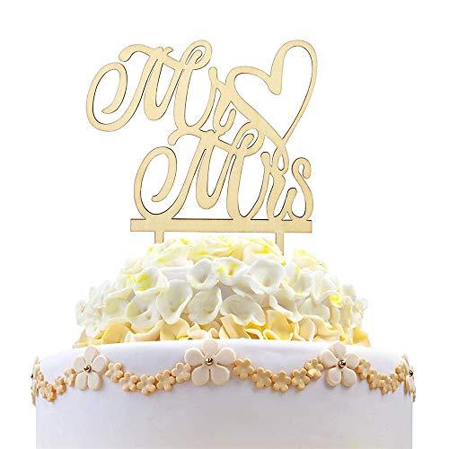 NvWang Cake Topper,Topper para Tartas Mr y Mrs Cake Topper de Madera de Boda Decoración de Tarta de Fiesta