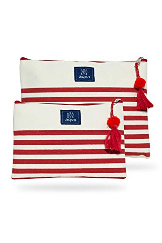 AQVA Pack of 2 Cotton Canvas Multipurpose Cosmetic Organizer Bag With Zipper - Eco-Friendly Travel Toiletry Pouch, DIY Craft Bag - Perfect for Stationary, Outdoor Activity (Large, Baby Stripe Red)