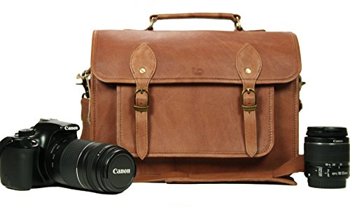 Leather Camera Bag for DSLR Mirrorless Instant Cameras Shoulder Camera Case 13 inch for Nikon Canon Sony in Vintage Look Cow Leather by LeftOver Studio