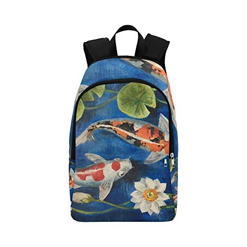 Colorful Koi Fish in A Pond Casual Daypack Travel Bag College School Backpack for Mens and Women