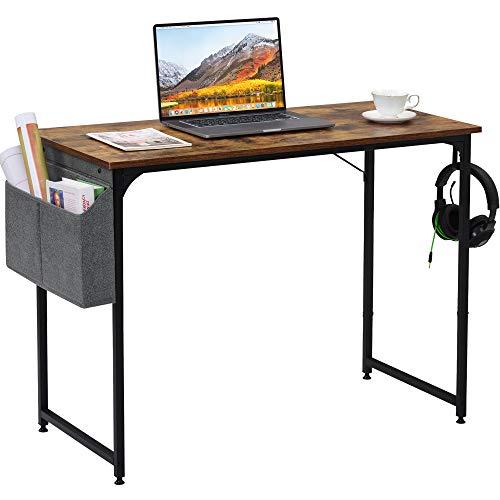 Schreibtisch Computertisch 100 x 50 cm mit Aufbewahrungstasche & Hake, PC Tisch Bürotisch Officetisch Arbeitstisch für Büro Wohnzimmer Schule, Industriestil Stabil (Schwarz)