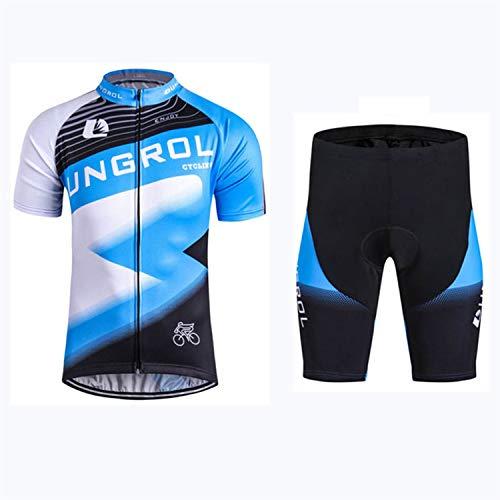 Conjunto De Ropa De Ciclismo para Hombre Conjunto De Jersey De Bicicleta Top De Verano + Culotte con Tirantes Acolchado, Almohadilla De Asiento De Gel 9D (Blue-B,XL)
