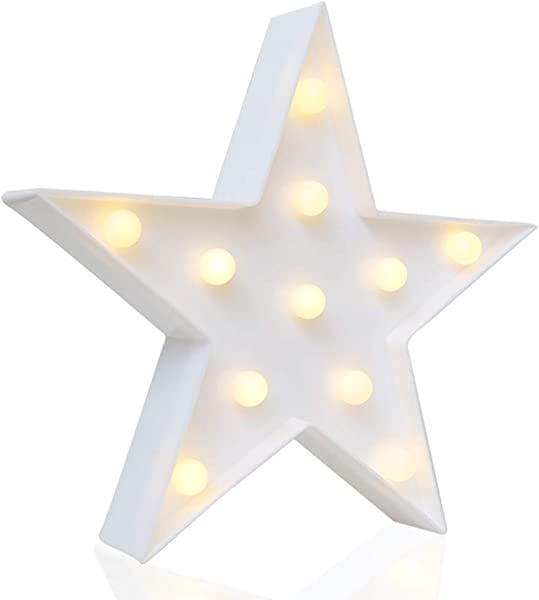 Novelty Place Designer Star Marquee Sign Lights Warm White LED Lamp Living Room Bedroom Table Wall Christmas Decoration For Kids Adults Battery Powered 10 Inches High