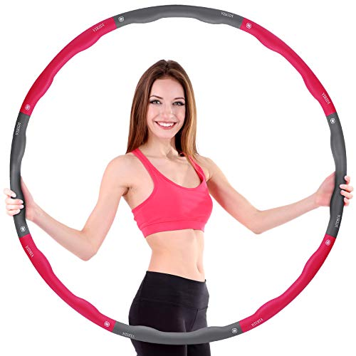 VIRIDI Hula Hoop Reifen 1,2kg, Anfänger Hula Hoops Reifen Erwachsene Kinder Abnehmen Fitnessgerät 6-8-Teiliger Abnehmbarer Hula Hoop Ring für Aerobic-Übungen/Bauchtraining/Trainieren Rückenmuskulatur