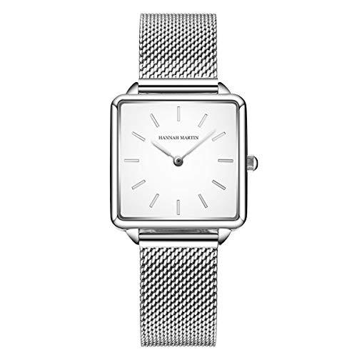 Allskid Damen Elegant Uhren Quadratisches Zifferblatt Rostfreier Stahl Mesh Uhrarmband Mädchen Quarz Armbanduhren (28.5mm, Silber)