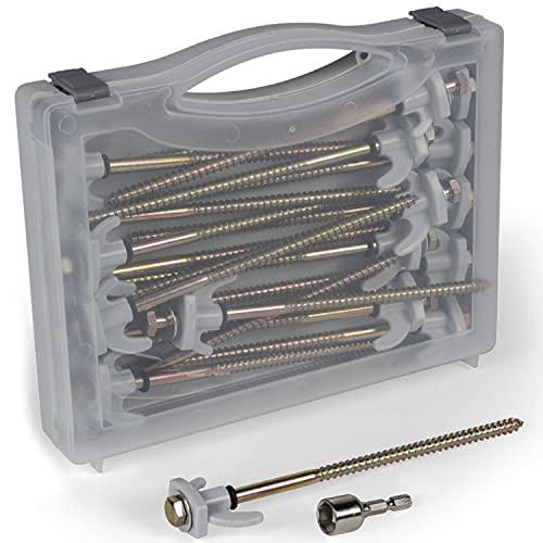 20x Stahl Hering Schraubhering - Zelthering 20cm lang mit Sechskantkopf Aufbewahrungskoffer und Adapter