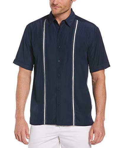 Cubavera Mens Contrast Insert Stitching Short Sleeve Woven Shirt,Dress Blues,Large