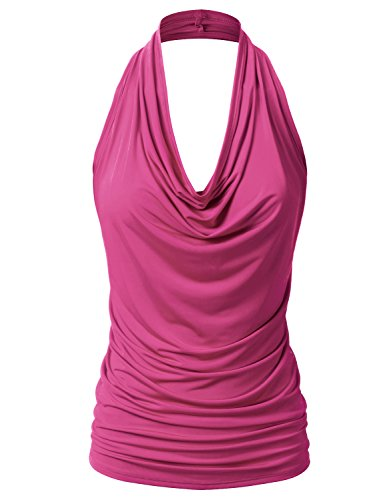 EIMIN Women's Casual Halter Neck Draped Front Sexy Backless Tank Top Fuchsia L