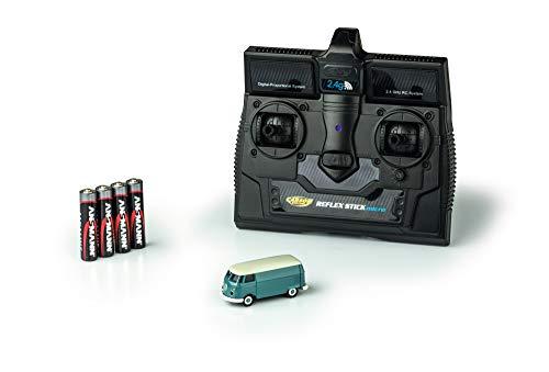 CARSON 500504118 - 1:87 VW T1 Bus Kastenwagen 2.4G 100% RTR, Fahrfertiges Modell, 2.4 GHz Fernsteuerung mit Ladeanschluss, inkl. 4xAAA Senderbatterien, mit LED Beleuchtung, Anleitung