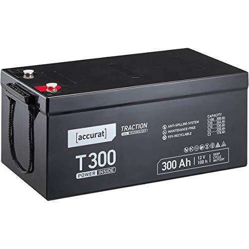Accurat 12V 300Ah Blei-Akku Versorgungsbatterie zyklenfeste Gel-Batterie Traction T300 wartungsfrei